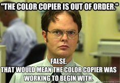 Dwight funny copier meme
