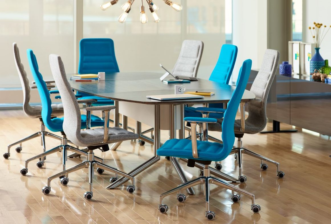 blue haworth conference chairs